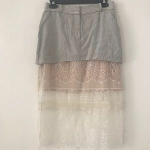 BCBG runway Mini / midi skirt with lace detail XS